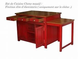 Ilot Cuisine Table : ilot en chne table coulissante ~ Teatrodelosmanantiales.com Idées de Décoration