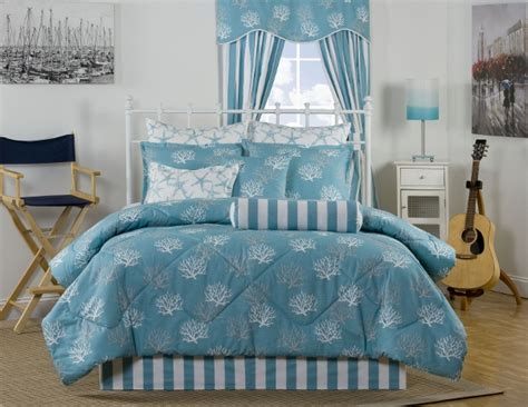 10pc Turquoise/white Coral Design 100% Cotton Comforter