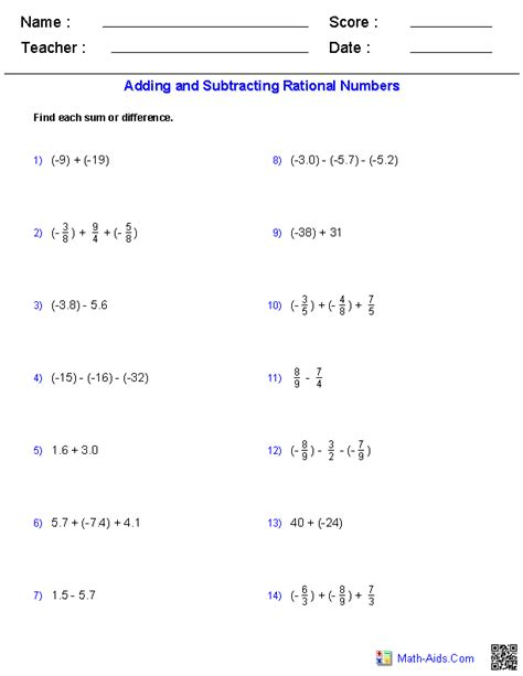 adding and subtracting rational numbers worksheets math aids