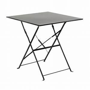 Table Pliante Metal : table de jardin pliante m tal camargue 70 x 70 cm noir ~ Teatrodelosmanantiales.com Idées de Décoration