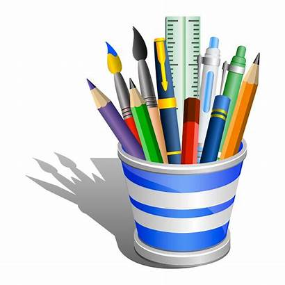 Supplies Desk Office Clipart Accessories Pencil Clip