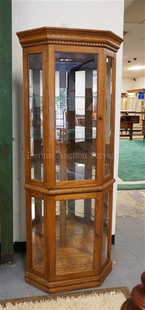 glass curio cabinet with lights lighted oak corner curio cabinet with glass shelves and a mi