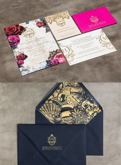 striking gold  lace wedding invitation kits deer