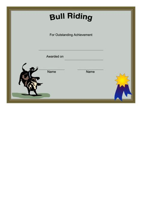 rodeo bull riding certificate printable