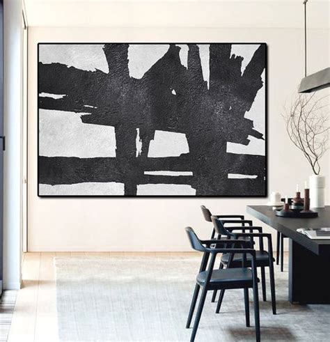 Black And White Canvas Painting Abstract by Painted Large Abstract Painting Horizontal