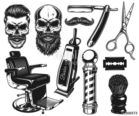 set vintage monochrome barber tools elements isolated white