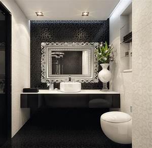 bathroom: Elegant Black White Bathroom Interior with