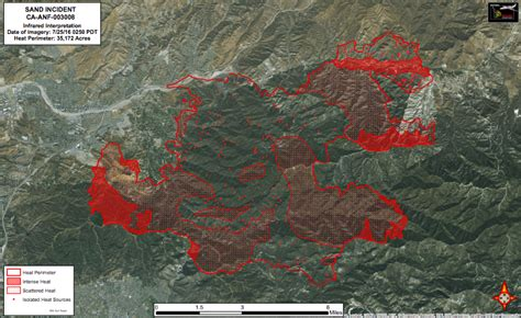 infrared map   sand fire captured july