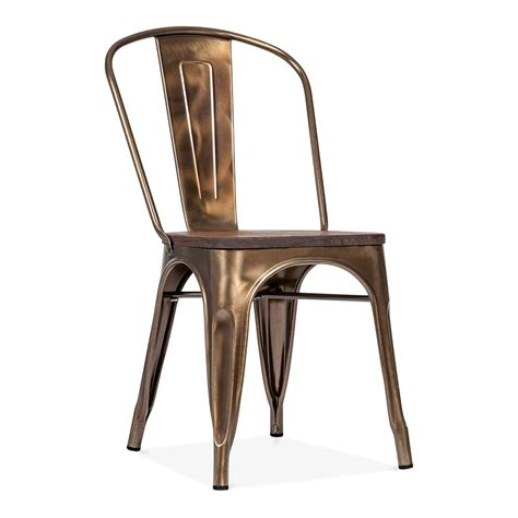 chaise metal tolix bronze side chair with elm wood seat cult furniture