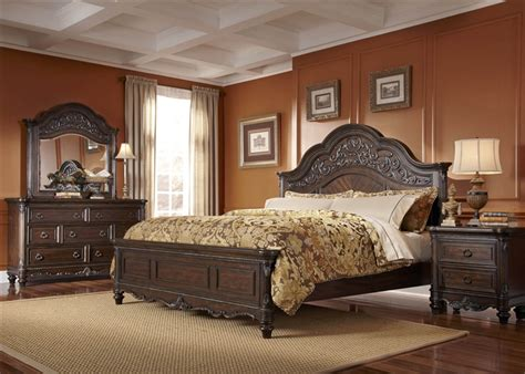 29560 liberty furniture bedroom sets clayton manor 6 bedroom set in chestnut finish by