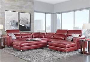 sofia vergara sorrento red 5 pc sectional living room