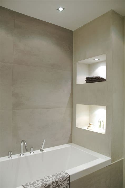 Tiling A Bathtub Alcove by Large Porcelain Tile Bathroom Modern With Alcove Bathroom