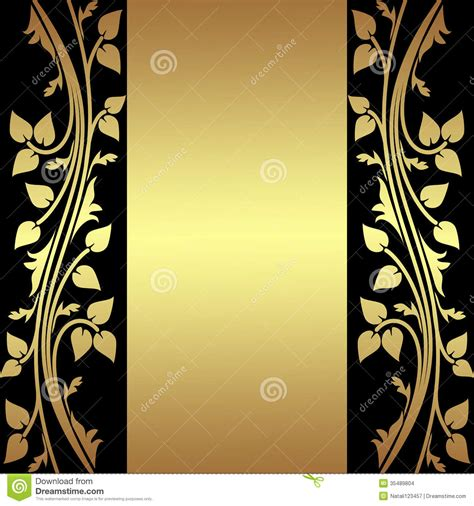 luxury background  golden floral borders stock images