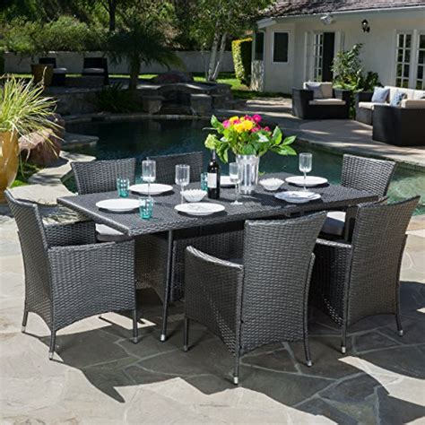 macalla grey pe wicker 7 outdoor dining set home