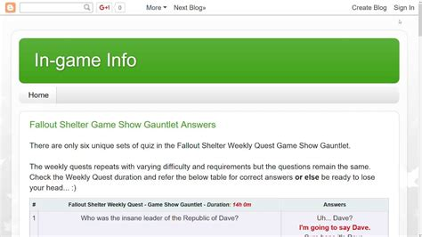 Fallout Shelter All Answers Visit Blog Weekly Quest