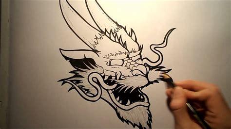 draw  chinese dragon head youtube