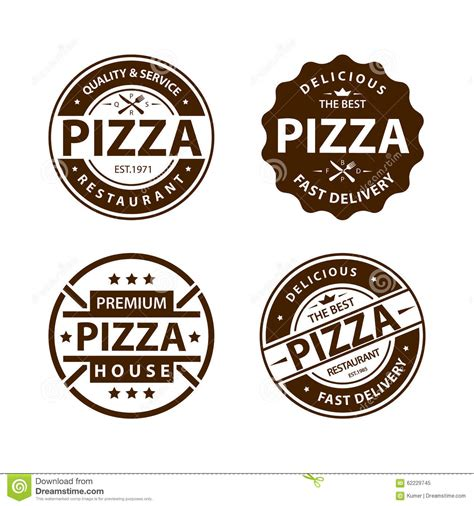 set de cuisine retro vintage vector pizza logo label badge set stock vector