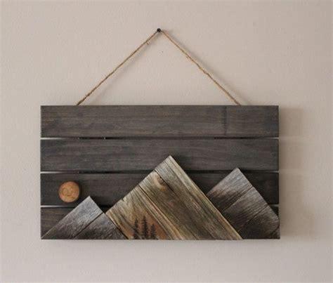 wooden mountains wall art  outsideinwoodshop  etsy