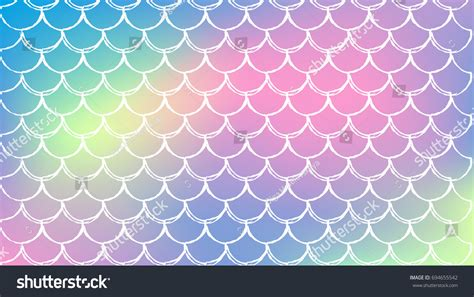Mermaid Scale On Trendy Gradient Background Stock Vector