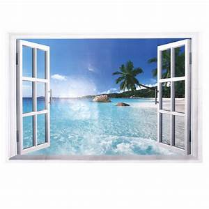 Removable 3d beach resort window view wall sticker vinyl for Beach wall decals