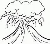 Volcano Clipart Coloring Clipartion sketch template