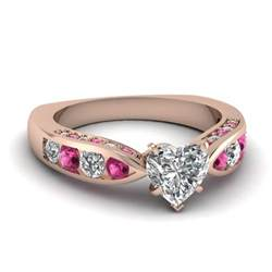 pink gold engagement rings gold white engagement wedding ring with pink sapphire in channel pave