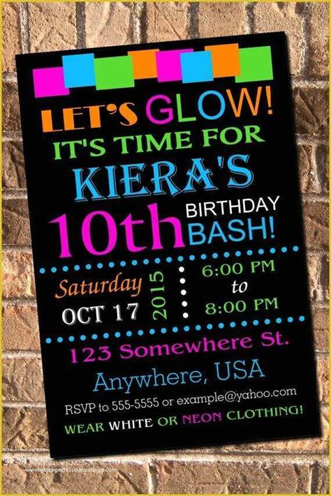 neon party invitations templates