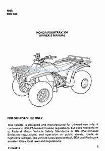 Honda Fourtrax 300 Owner U0026 39 S Manual Pdf Download