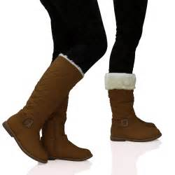 womens wide calf boots size 11 womens quilted fur lined wide calf mid height boots zip up shoes size ebay