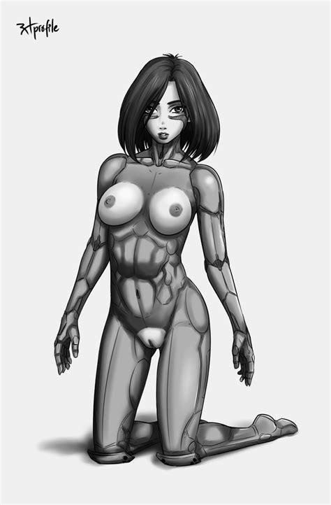 rule 34 alita battle angel alita breasts cyborg female gally gunnm kneeling looking at viewer