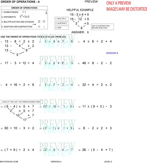 order of operations worksheets by math crush