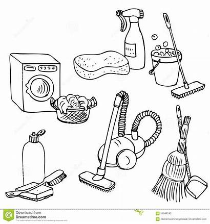 Cleaning Doodle Laundry Hand Coloring Vector Drawn
