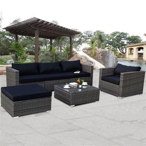 Back Patio Furniture by Costway Costway 6 Rattan Wicker Patio Furniture Set