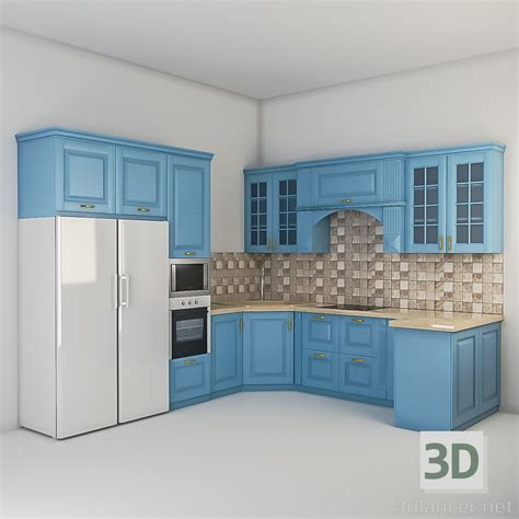 design a kitchen free 3d 3d model kitchen in the style of classicism id 15926 9561