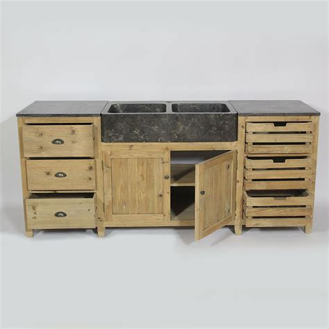 meuble central de cuisine cuisine bois recyclé avec plateau en bleue