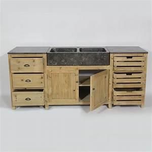 meuble cuisine independant bois wrastecom With meuble bas maison du monde 7 cuisine bois recycle avec plateau en pierre bleue