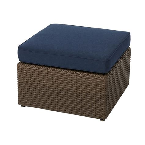 outdoor ls home depot hton bay maldives brown wicker outdoor ottoman with