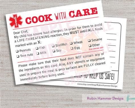 Alert Card Template by Alert Dining Card Food Allergy Chef Card Printable