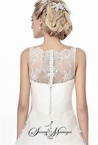 Robe de mariee bustier dentelle bouton au dos jupe en for Robe de mariée dentelle dos