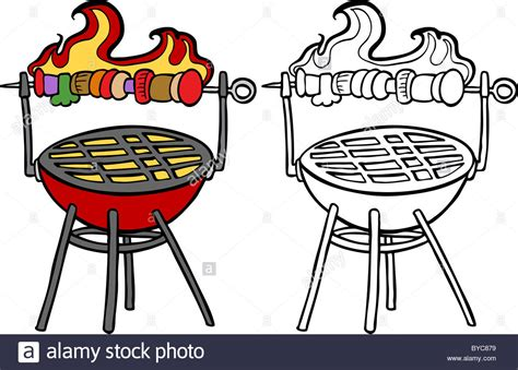 Cartoon Image Of A Variety Of A Bbq Grill With Roasting