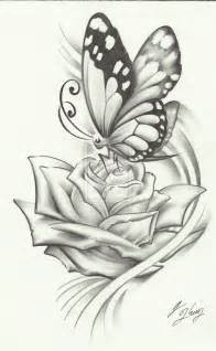Butterfly and Rose Tattoo Drawings