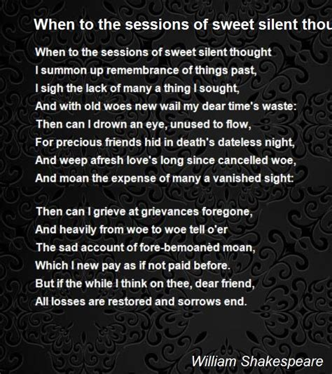 sessions  sweet silent thought sonnet