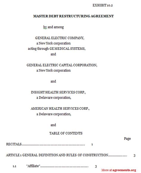 master debt restructuring agreement template agreementsorg