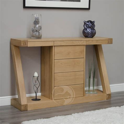 Z Shape Solid Oak Large Hall Console Table With Drawers