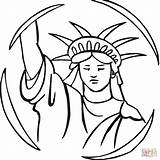 Liberty Statue Coloring Drawing Pages Outline Clipart Cartoon Buddha Torch Easy Cliparts Clip Face Draw Printable Clipartmag sketch template