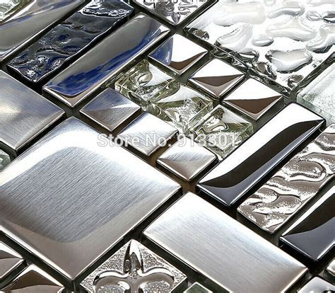 glass mixed metal tiles kitchen wall tile backsplash FD373