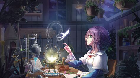Anime scenery wallpaper tumblr background hd wallpapers 1920×1200. Download 1920x1080 Anime Girl, Purple Hair, Room ...