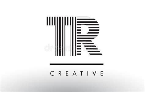Tr T R Black And White Lines Letter Logo Design. Stock