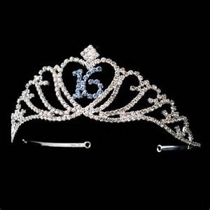 rhinestone cake toppers sparkling sweet 16 birthday tiara covered in clear blue