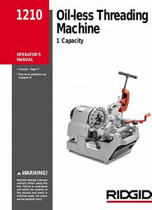 Ridgid Oil Less Threading Machine 1210 Users Manual